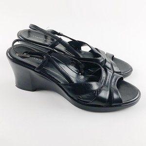 Naturalizer Black Leather Wedge Heels Sz 10